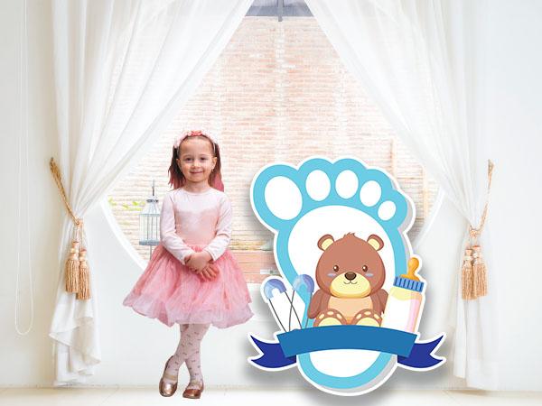 Teddy Bear in Blue Foot